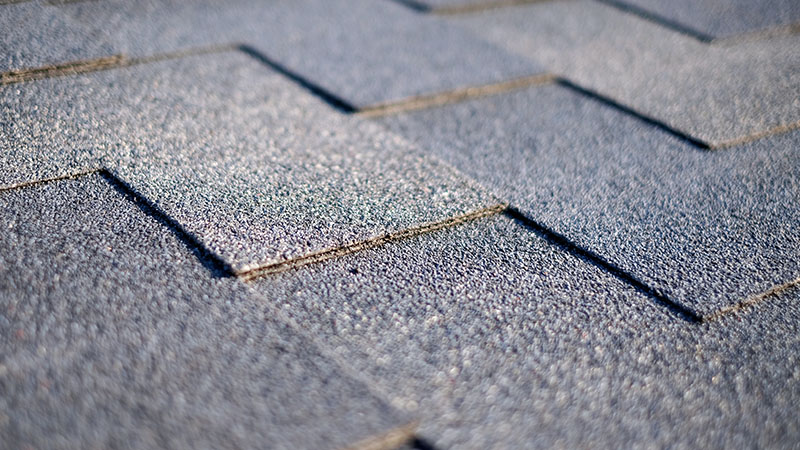 Black asphalt shingles